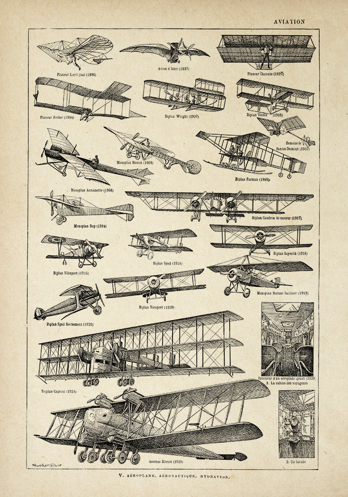 Aviation Chart Larousse  Poster - Perfect for Living Room and Office ! - Kuriosis Vintage Prints