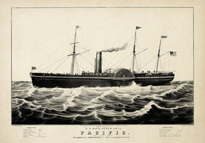 The Pacific Ship Antique Poster - Kuriosis Vintage Prints