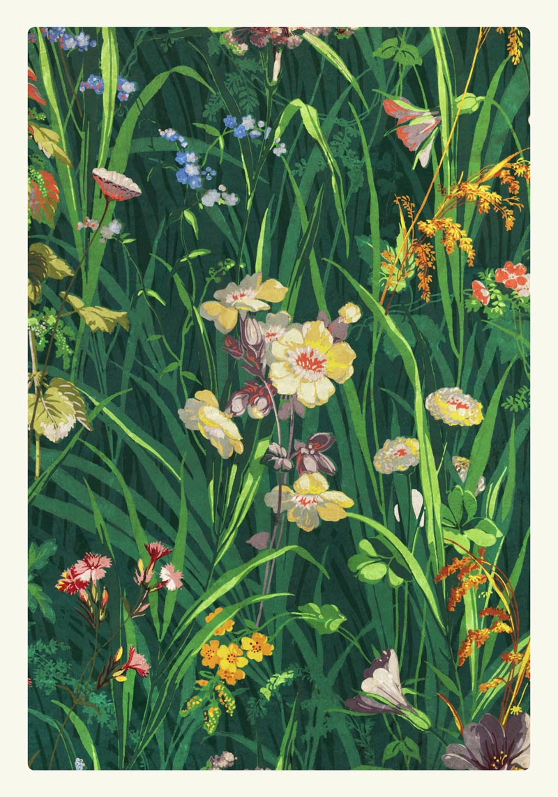 William Morris Grass with Lavender Yellow and Pink Poster