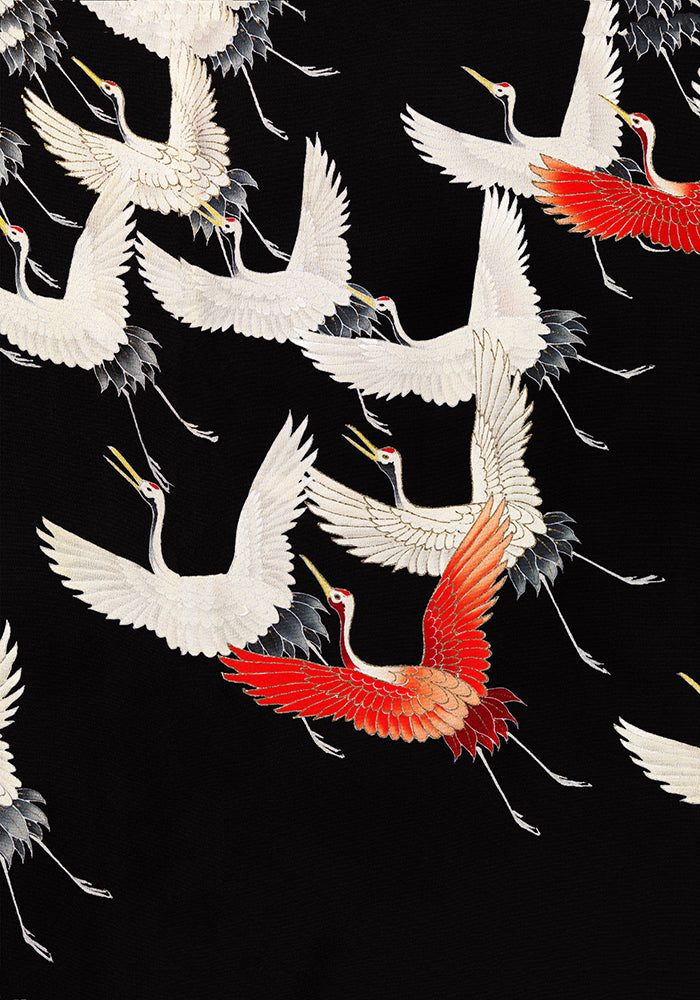 White Cranes and Red one flying Kimono Poster - Kuriosis Vintage Prints