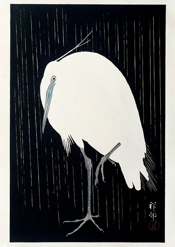 Egret in the snow by Ohara Koson