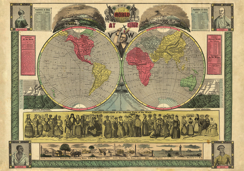 World at one view Poster - Perfect for Living Room and Office ! - Kuriosis Vintage Prints