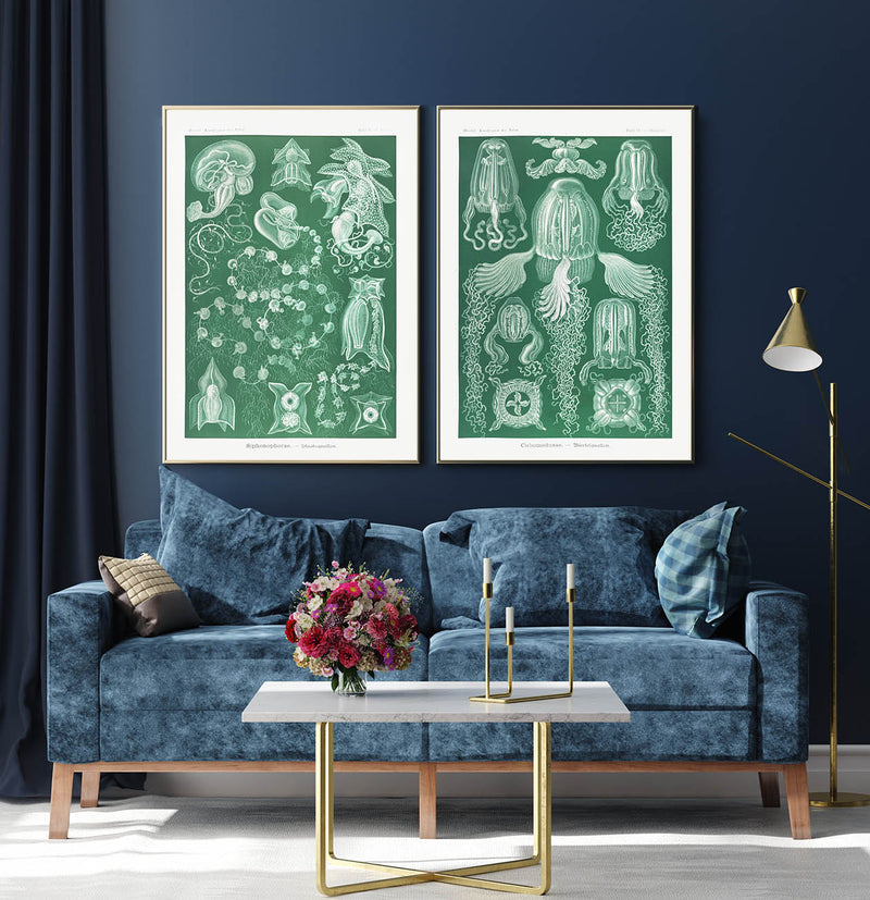 Green Sea Creatures by Haeckel Set of 2 Prints