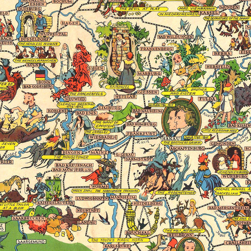 German Fairytale Land Map Poster - Kuriosis Vintage Prints