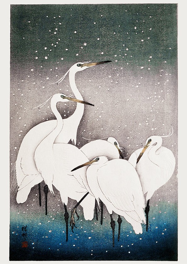 5 White Cranes in the snow by Ohara Koson