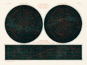 Le Ciel 1877 Constellation Map - Kuriosis Vintage Prints