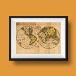Ancient World Map Poster in Black Frame