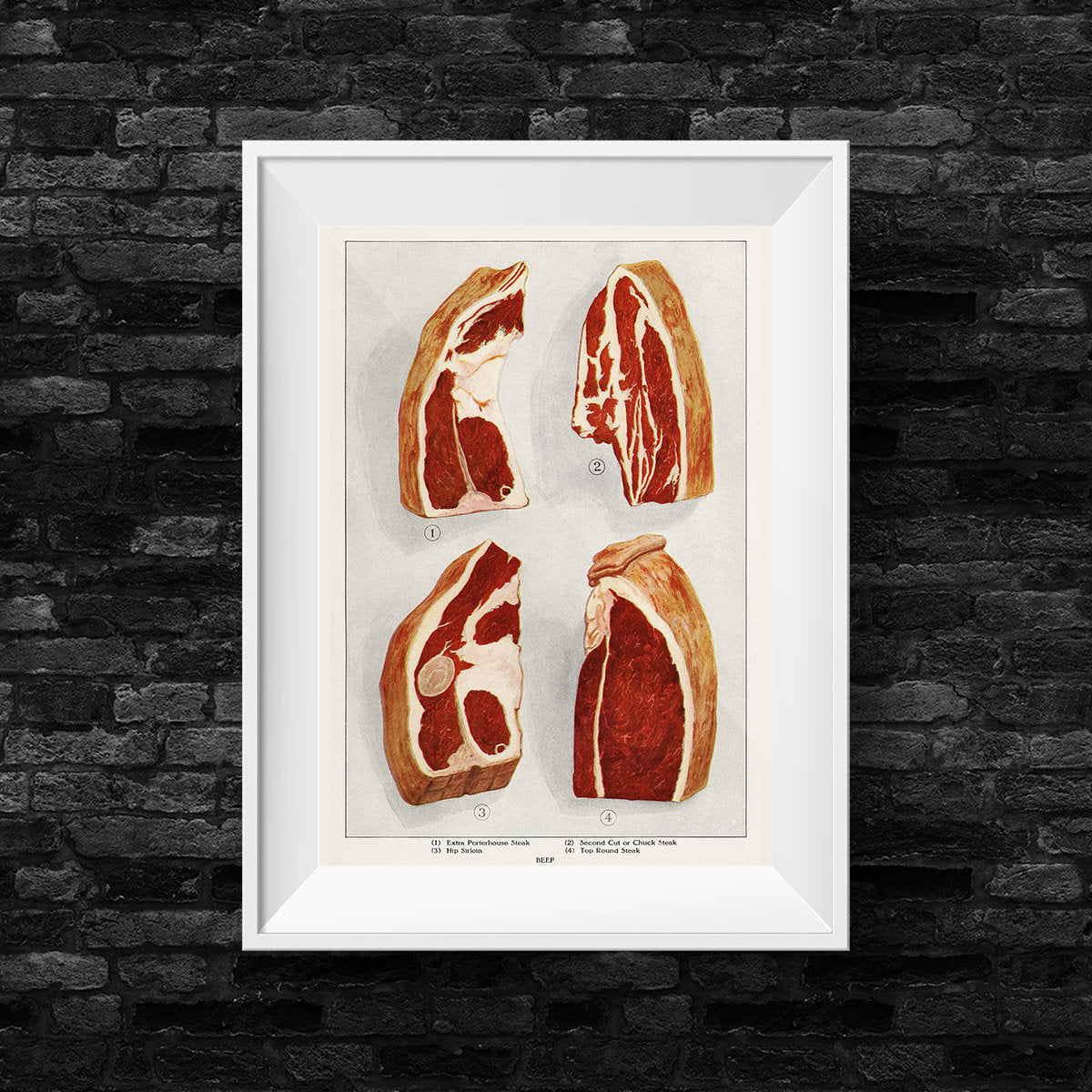 Beef 4 Pieces Vintage Druck, Vintage Print, Poster, Antique Illustration, Food, Barbecue - Kuriosis Vintage Prints