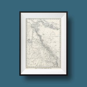The Great Australian Barrier Reef Map Vintage Druck, Vintage Print, Poster, Antique Illustration