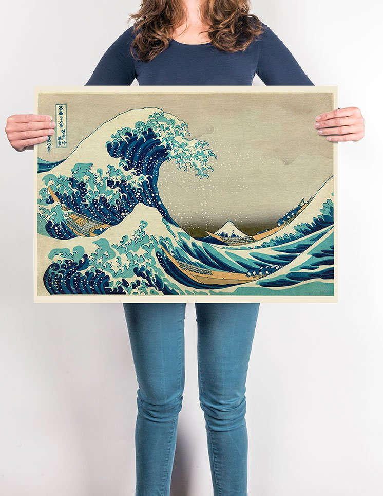 The Great Wave of Kanagawa Hokusai Poster - Kuriosis Vintage Prints