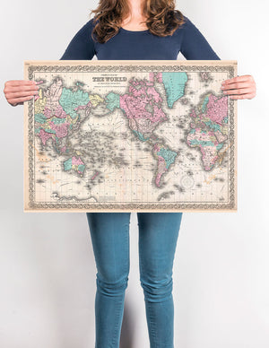 Colton's Map of the World on Mercators Projection Worldmap - Kuriosis Vintage Prints
