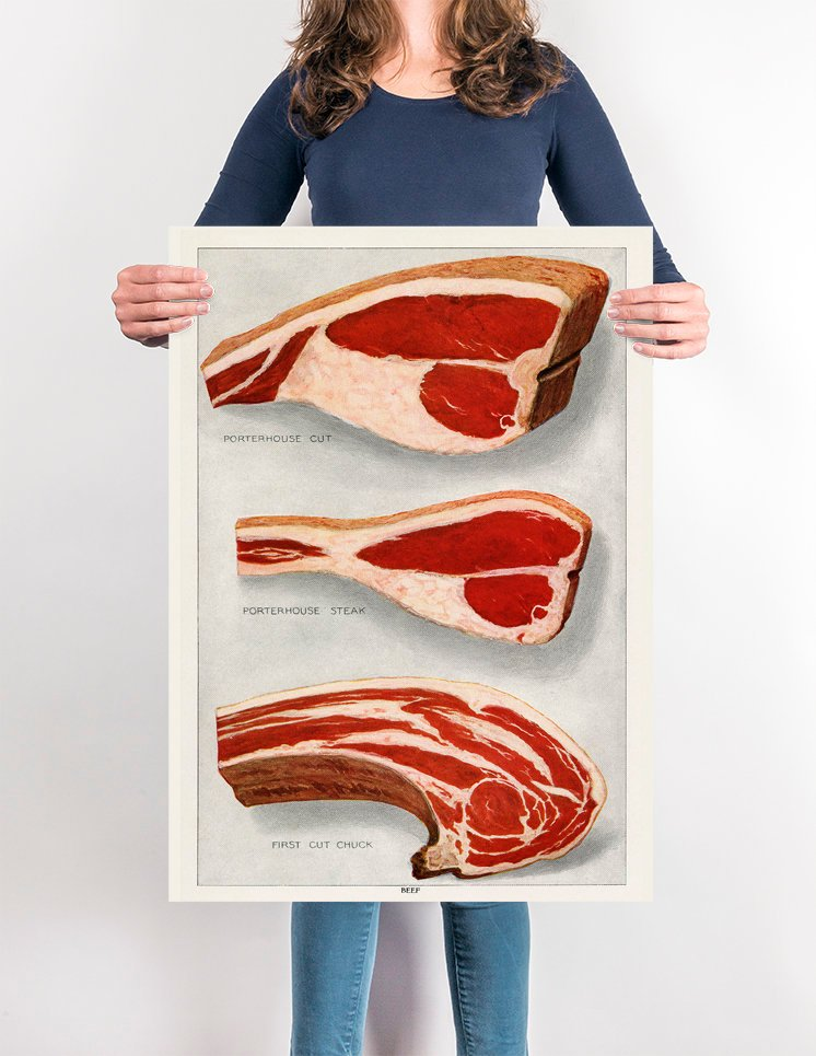 Beef 3 Pieces Steak - Kuriosis Vintage Prints