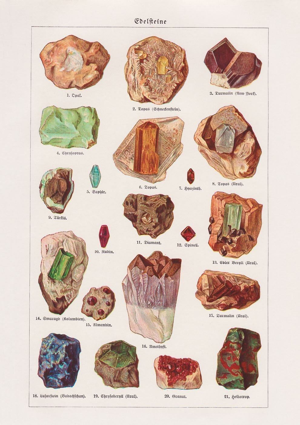 Gemstones Collage - Kuriosis Vintage Prints