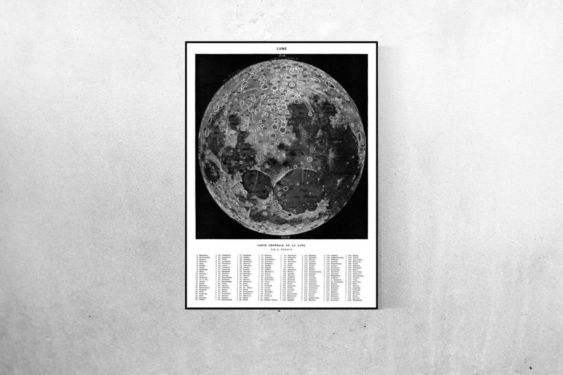 Moon Map Vintage Astronomical Poster