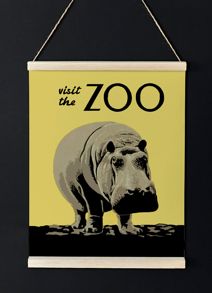 Visit the Zoo Vintage Hippo Poster