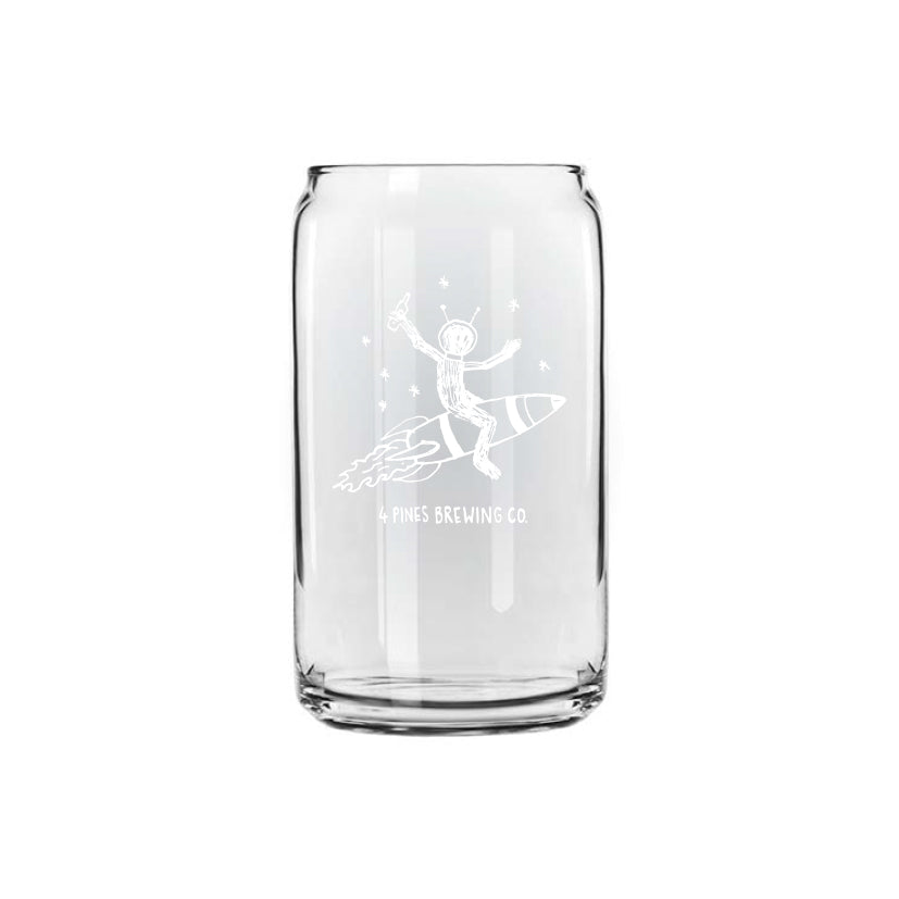 Tin Shaped Glass with Rocket Yeti