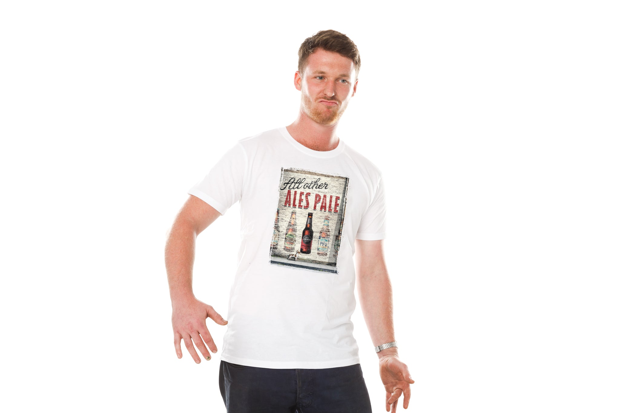 White Tee with All Other Ales Pale print