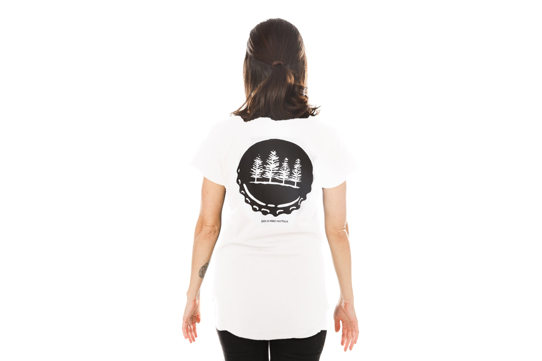 White Ladies Tee with Bottlecap print
