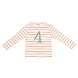 Biscuit & White Breton Striped Number 4 T Shirt (Green)
