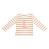 Biscuit & White Breton Striped Number 1 T Shirt (Pink)
