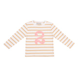 Biscuit & White Breton Striped Number 2 T Shirt (Pink)