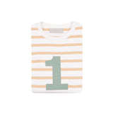 Biscuit & White Breton Striped Number 1 T Shirt (Green)