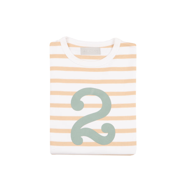 Biscuit & White Breton Striped Number 2 T Shirt (Green)