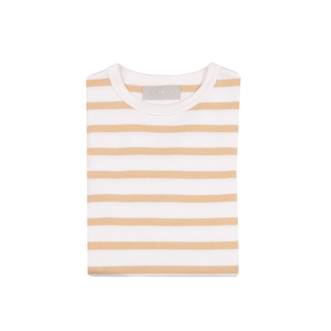 Biscuit & White Breton Striped T Shirt