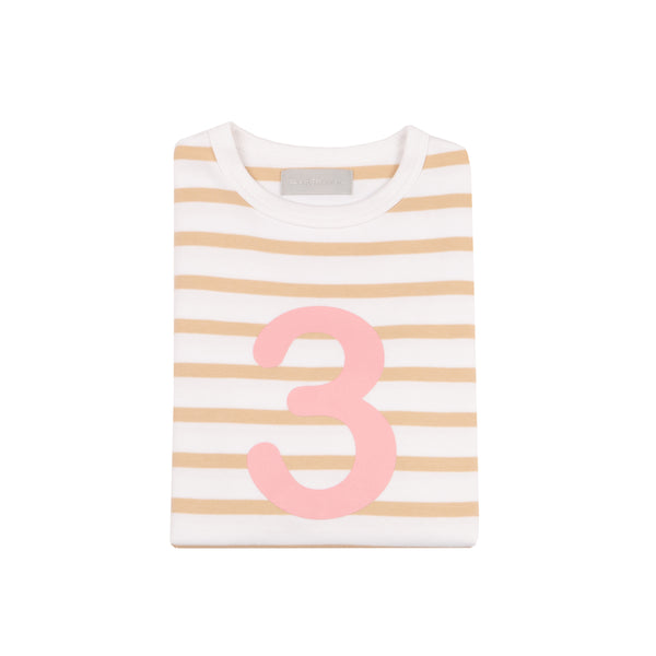Biscuit & White Breton Striped Number 3 T Shirt (Pink)
