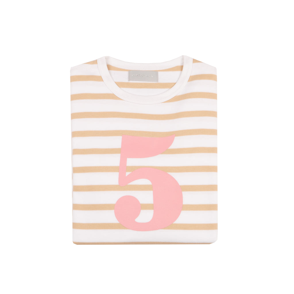 Biscuit & White Breton Striped Number 5 T Shirt (Pink)