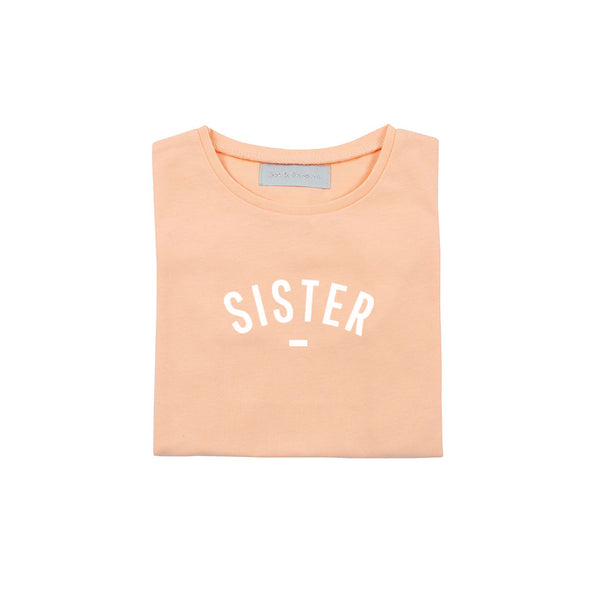 Peach 'SISTER' Cap-Sleeved T-Shirt