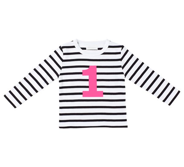 White & Black Breton Striped Number 1 (Pink) T Shirt