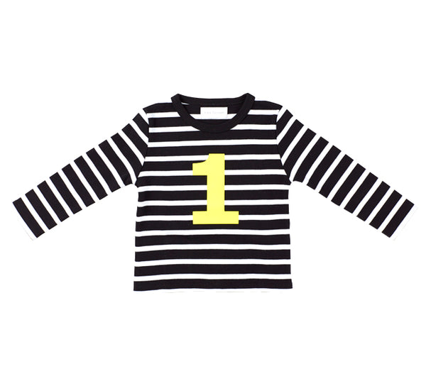 Black & White Breton Striped Number 1 (Yellow) T Shirt