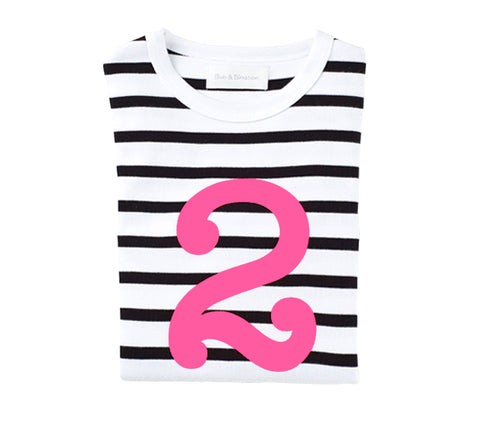 White & Black Breton Striped Number 2 (Pink) T Shirt