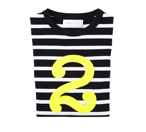Black & White Breton Striped Number 2 (Yellow) T Shirt