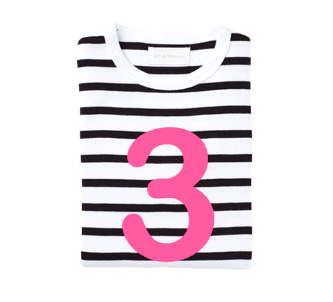 White & Black Breton Striped Number 3 (Pink) T Shirt