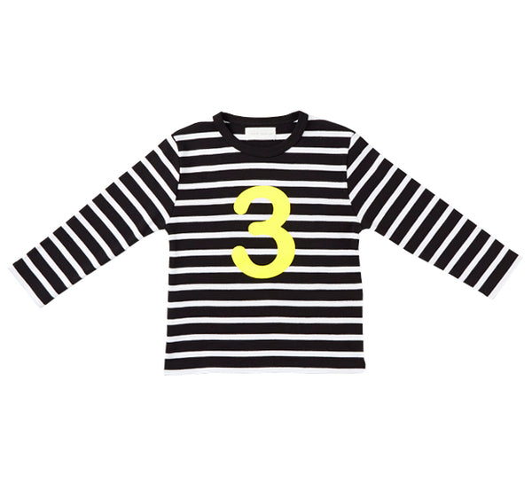 Black & White Breton Striped Number 3 (Yellow) T Shirt