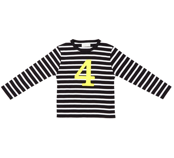 Black & White Breton Striped Number 4 (Yellow) T Shirt