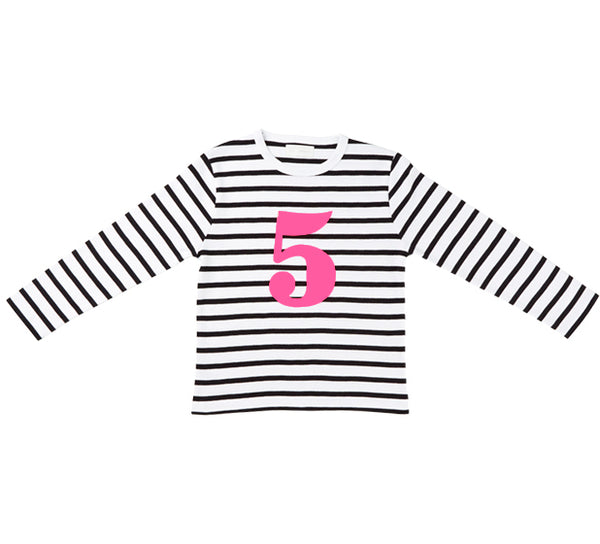 White & Black Breton Striped Number 5 (Pink) T Shirt