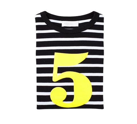 Black & White Breton Striped Number 5 (Yellow) T Shirt