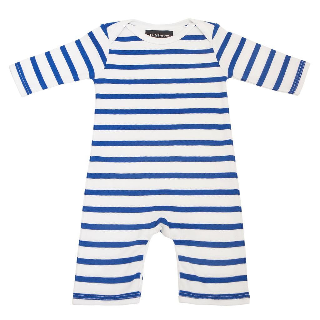 French Blue & White Breton Striped All-in-One