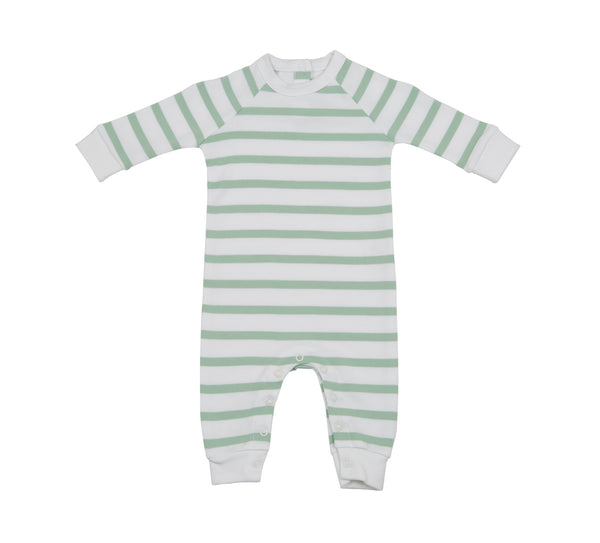Seafoam and White Breton Striped All-In-One