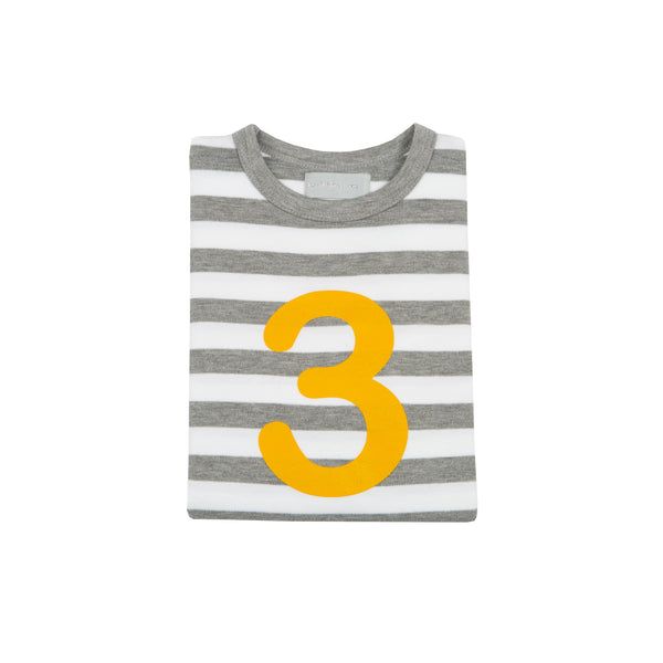 Grey Marl & White Breton Striped Number 3 T Shirt (Mustard)