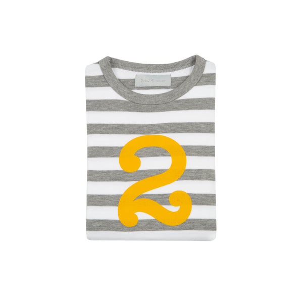 Grey Marl & White Breton Striped Number 2 T Shirt (Mustard)