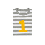 Grey Marl & White Breton Striped Number 1 T Shirt (Mustard)