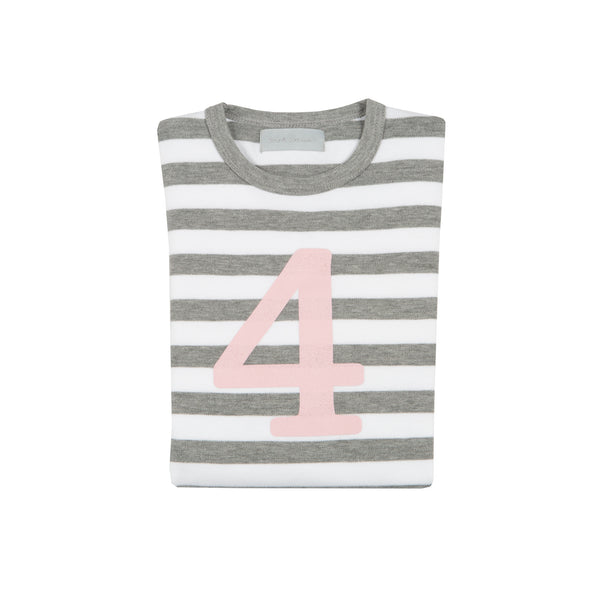 Grey Marl & White Breton Striped Number 4 T Shirt (Mallow Pink)