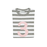 Grey Marl & White Breton Striped Number 3 T Shirt (Mallow Pink)