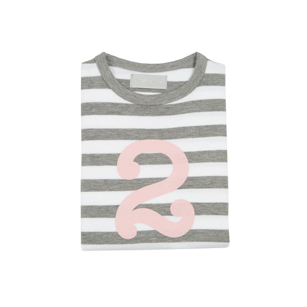 Grey Marl & White Breton Striped Number 2 T Shirt (Mallow Pink)
