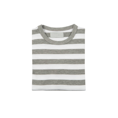 Grey Marl & White Breton Striped T Shirt