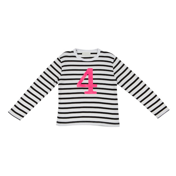 White & Black Breton Striped Number 4 (Pink) T Shirt